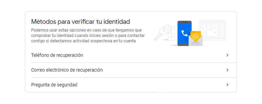 verificar identidad correo google