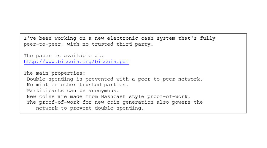 "Message from Satoshi Nakamoto to ""the cryptography mailing list"""