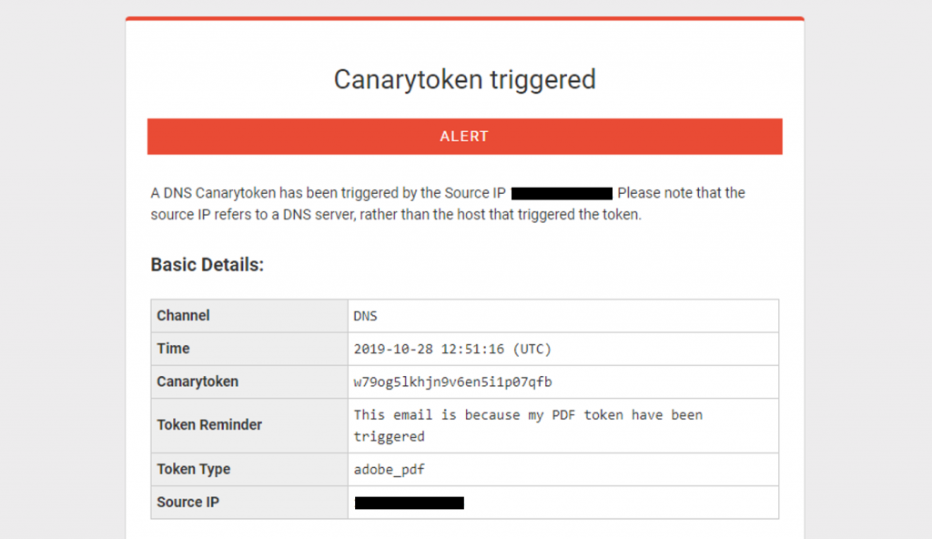 canarytoken triggered alert