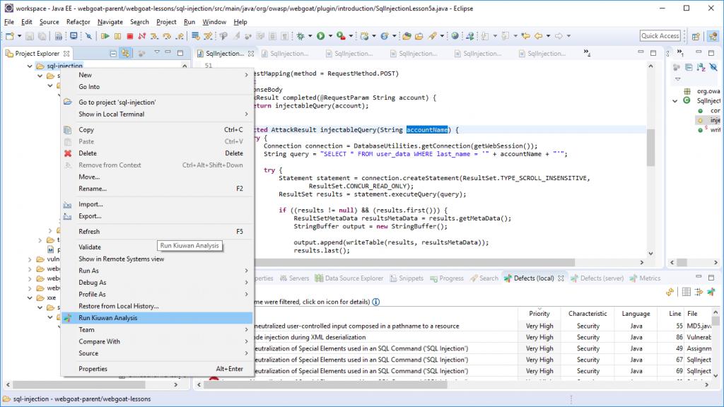 run kiuwan analysis code vulnerabilities