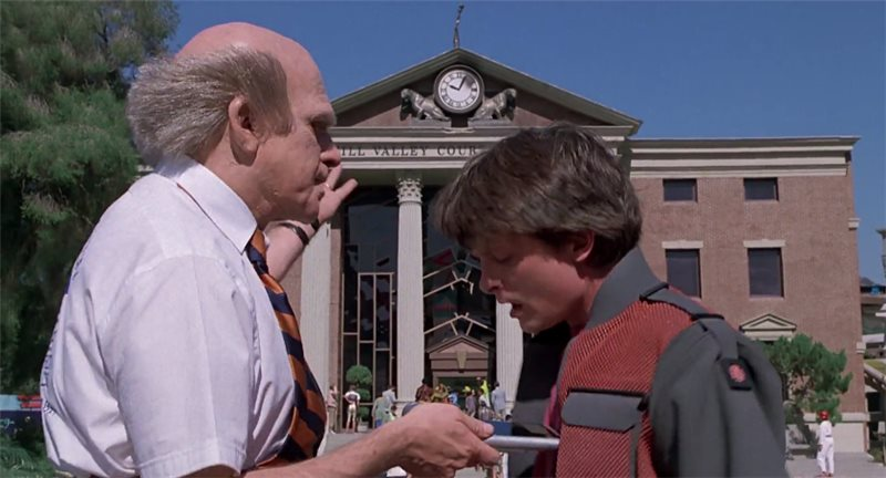 Back to the future 2: Marty pays a donation by placing his fingerprint on it