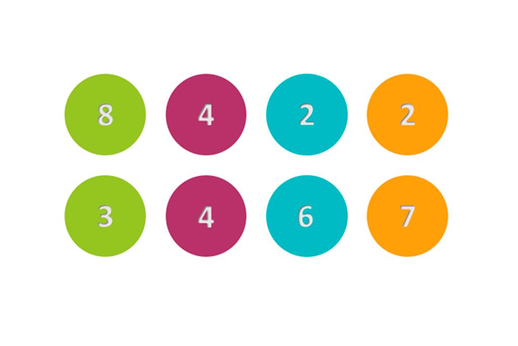 bolas de colores con números