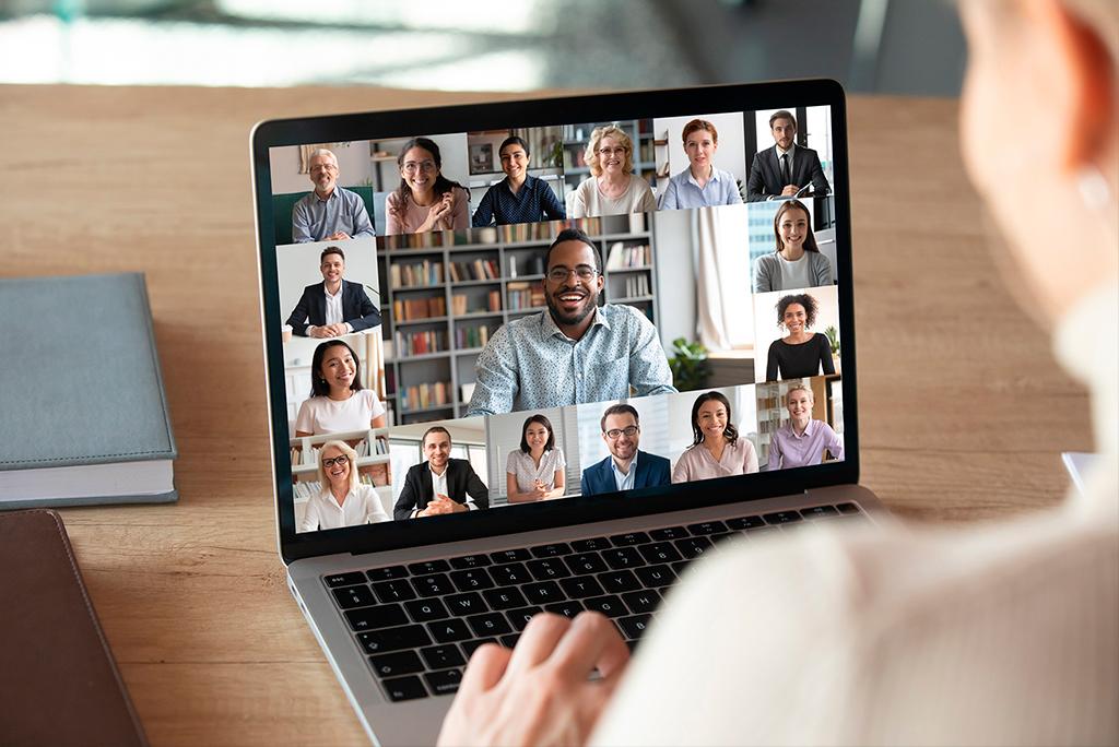 multiconferencia con muchas personas por ordenador