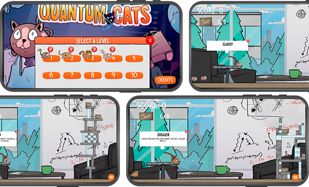 Four smartphone screens with the Quantum Cats app open