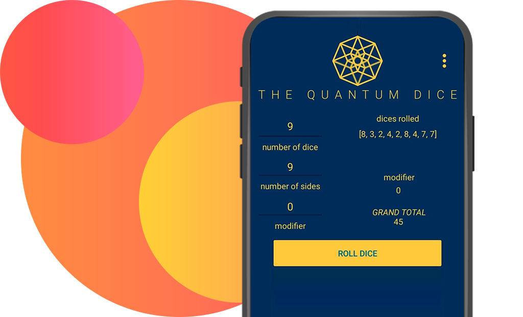 smartphone screen with open The Quantum Dice app