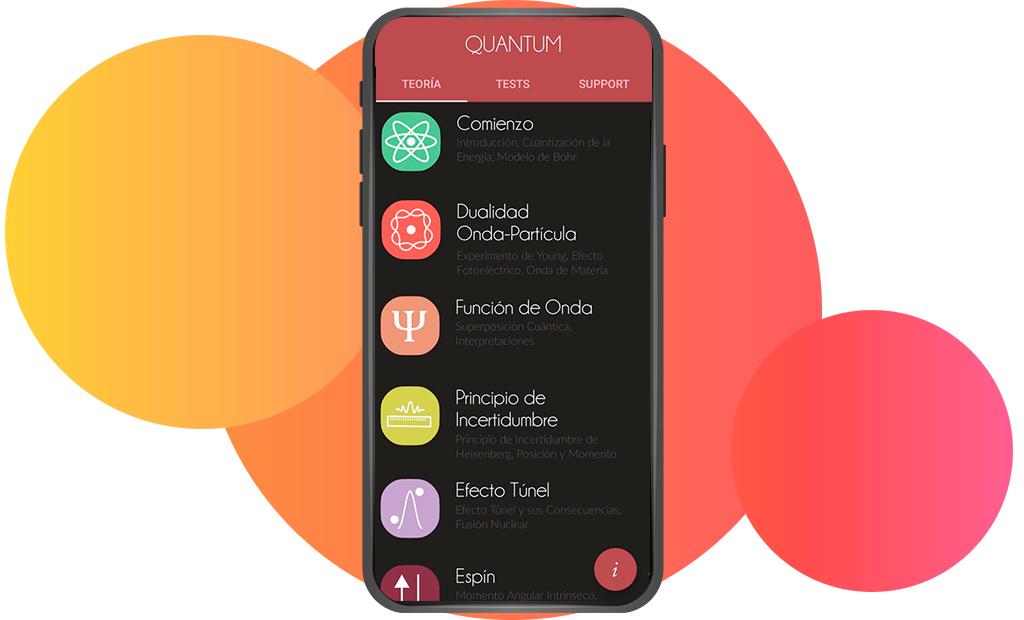pantalla de smartphone con app Quantum abierta
