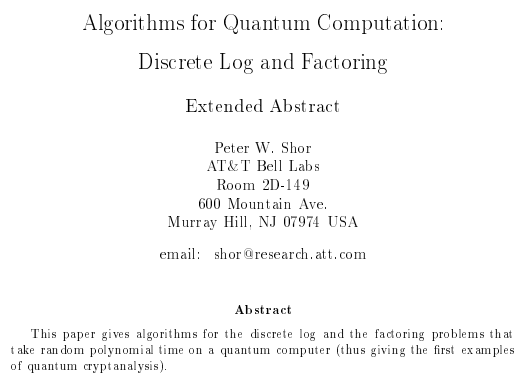 algorithms for quantum computing discrete log and factoring