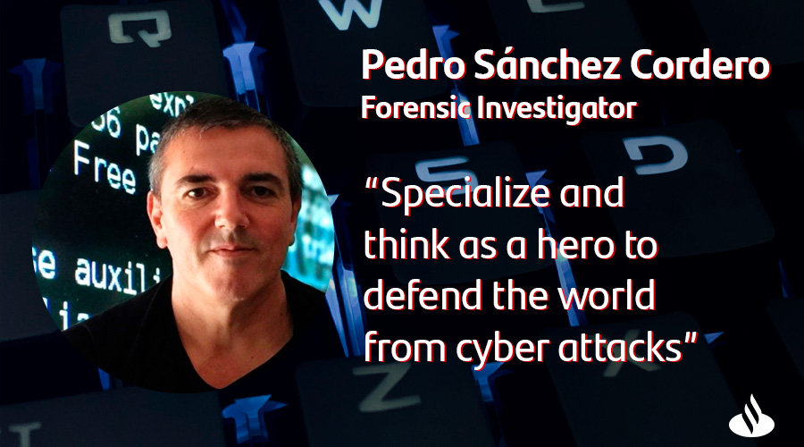 Pedro Sanchez - top cyber influencer spain - is forensic investigator at Santander